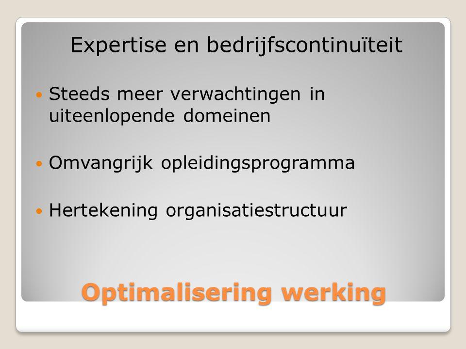 Optimalisering werking Expertise en bedrijfscontinuïteit  Steeds meer verwachtingen in uiteenlopende domeinen  Omvangrijk opleidingsprogramma  Hertekening organisatiestructuur