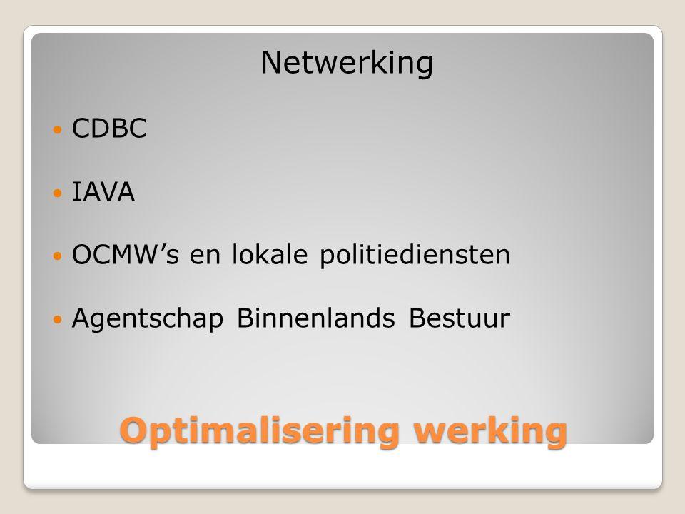 Optimalisering werking Netwerking  CDBC  IAVA  OCMW's en lokale politiediensten  Agentschap Binnenlands Bestuur