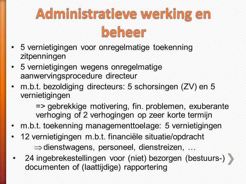 •5 vernietigingen voor onregelmatige toekenning zitpenningen •5 vernietigingen wegens onregelmatige aanwervingsprocedure directeur •m.b.t.