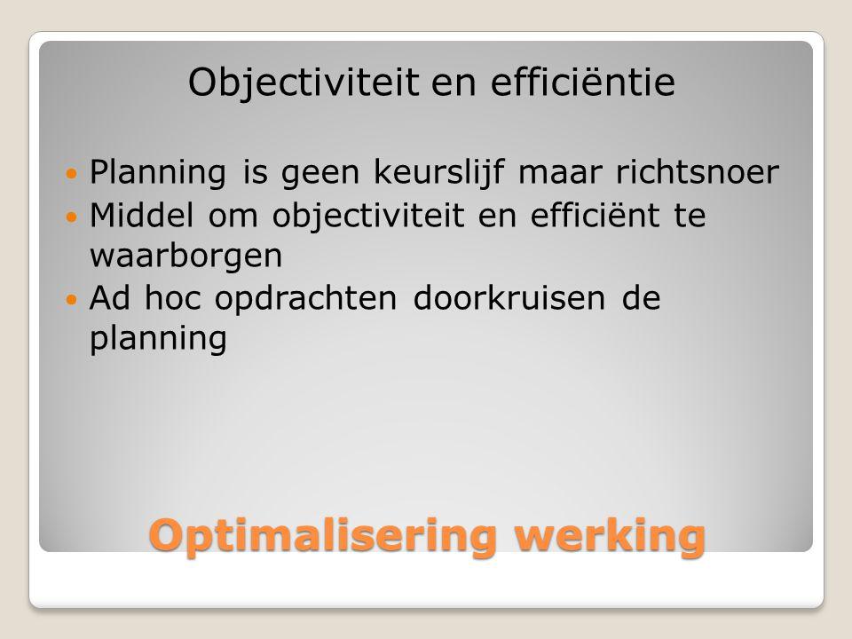 Optimalisering werking Objectiviteit en efficiëntie  Planning is geen keurslijf maar richtsnoer  Middel om objectiviteit en efficiënt te waarborgen  Ad hoc opdrachten doorkruisen de planning