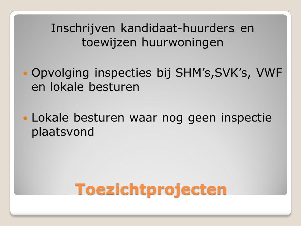 Toezichtprojecten Inschrijven kandidaat-huurders en toewijzen huurwoningen  Opvolging inspecties bij SHM's,SVK's, VWF en lokale besturen  Lokale besturen waar nog geen inspectie plaatsvond