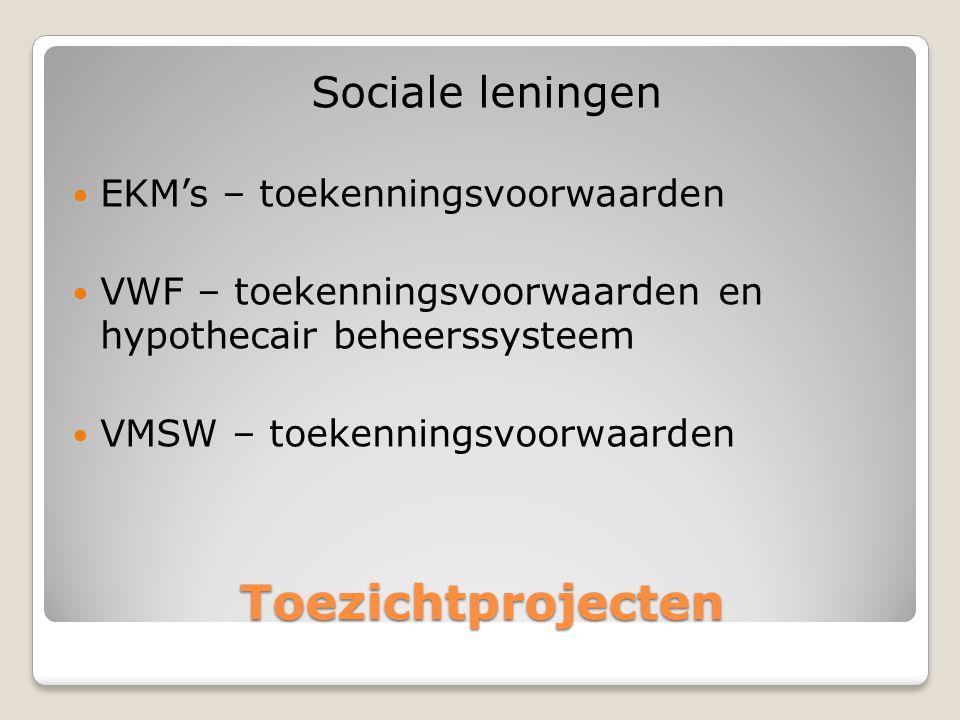 Toezichtprojecten Sociale leningen  EKM's – toekenningsvoorwaarden  VWF – toekenningsvoorwaarden en hypothecair beheerssysteem  VMSW – toekenningsvoorwaarden