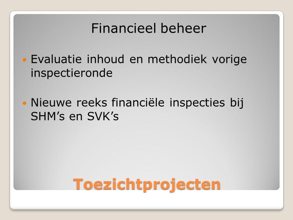 Toezichtprojecten Financieel beheer  Evaluatie inhoud en methodiek vorige inspectieronde  Nieuwe reeks financiële inspecties bij SHM's en SVK's