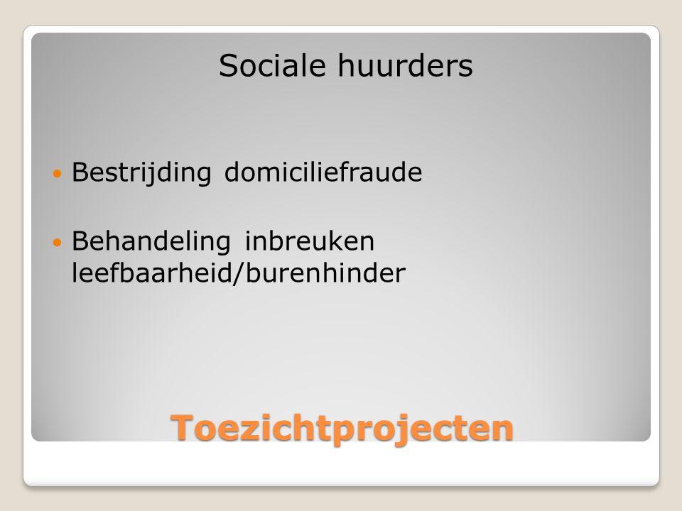 Toezichtprojecten Sociale huurders  Bestrijding domiciliefraude  Behandeling inbreuken leefbaarheid/burenhinder