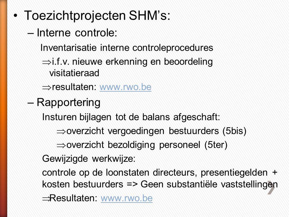 •Toezichtprojecten SHM's: –Interne controle: Inventarisatie interne controleprocedures  i.f.v.