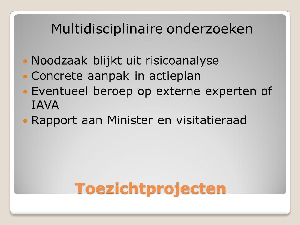 Toezichtprojecten Multidisciplinaire onderzoeken  Noodzaak blijkt uit risicoanalyse  Concrete aanpak in actieplan  Eventueel beroep op externe experten of IAVA  Rapport aan Minister en visitatieraad