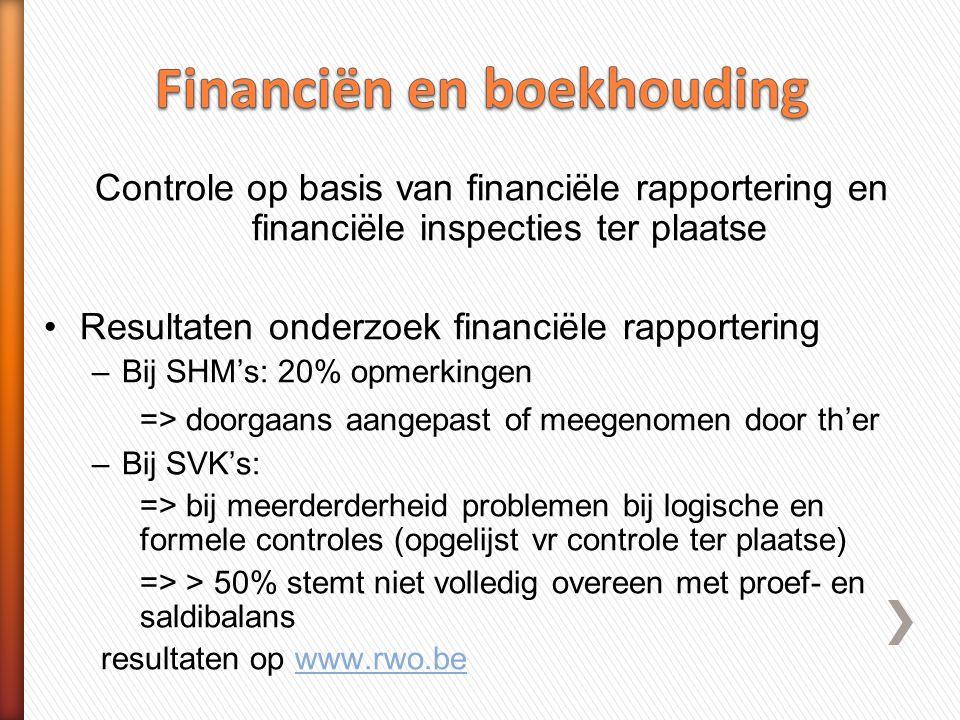 •Financiële inspecties bij 24 SHM's Vaststellingen: –mbt procedures interne controle op financieel vlak: niet (volledig) aanwezig (7) of werkzaamheden stemmen niet overeen met procedures (1/4) –Mbt financiële verplichtingen:  Groot aantal inbreuken (40%) oorzaak.