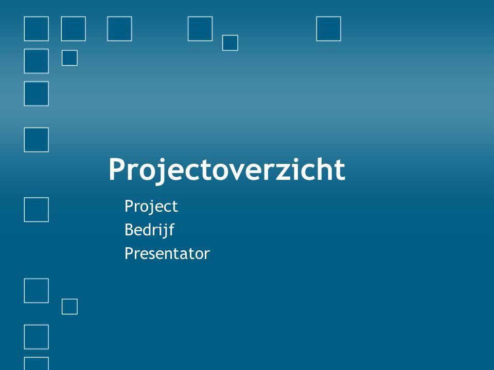 Projectdoelstellingen •Uiteindelijk doel van project •Relatie met andere projecten •Belangrijkste mijlpalen