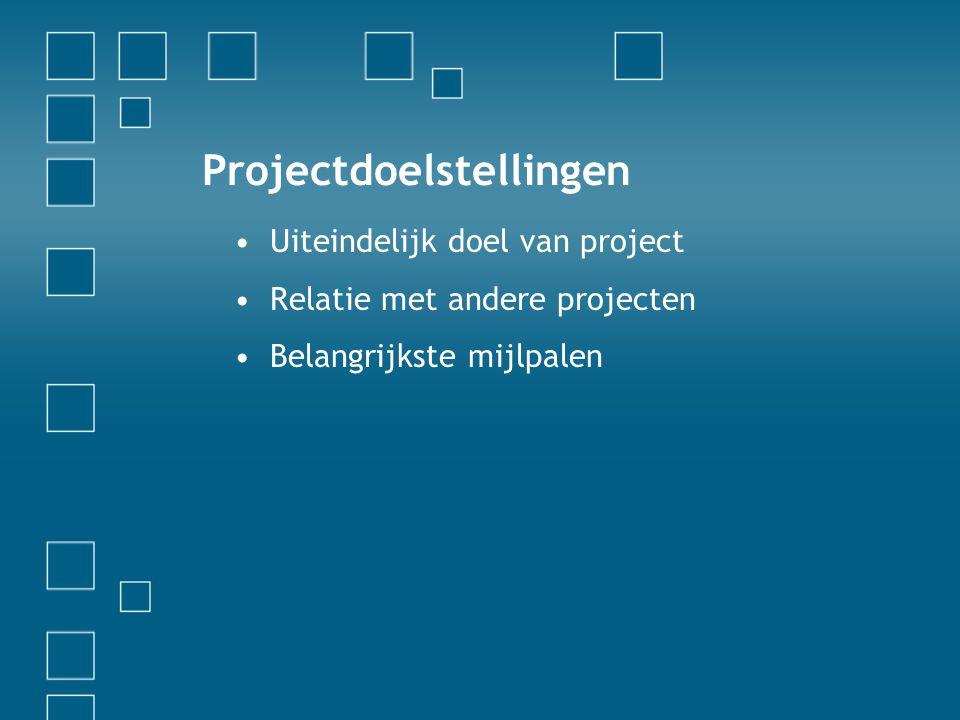 Beschrijving •Beschrijf het project in termen die voor de leek begrijpelijk zijn •Gebruik de volgende dia s voor het bespreken van zaken als status, schema s, budget, enzovoort Meer informatie… Geef aan waar mensen de specificatie (of aanverwante documenten) kunnen vinden