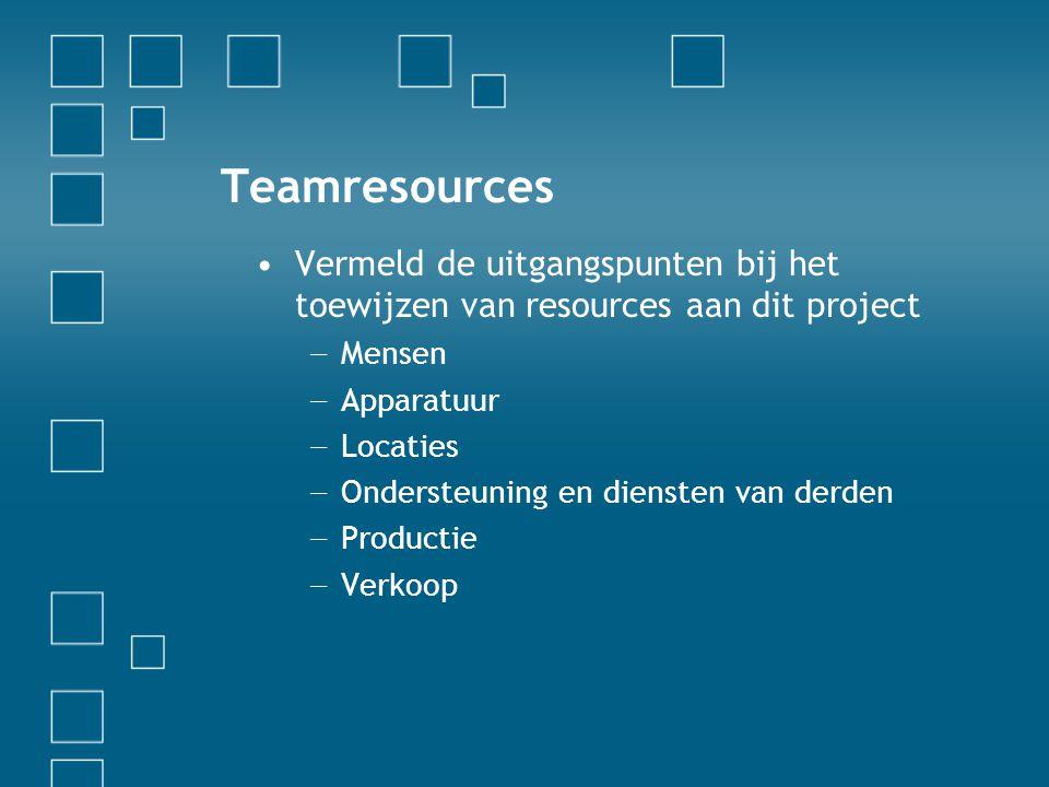 Teamresources •Vermeld de uitgangspunten bij het toewijzen van resources aan dit project − Mensen − Apparatuur − Locaties − Ondersteuning en diensten