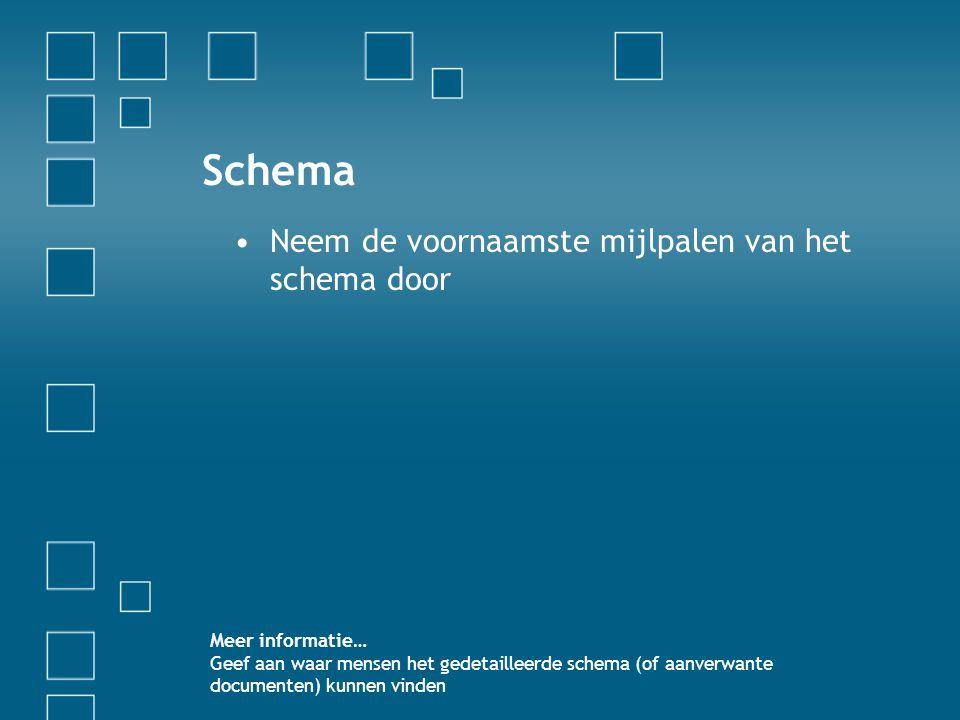 Schema •Neem de voornaamste mijlpalen van het schema door Meer informatie… Geef aan waar mensen het gedetailleerde schema (of aanverwante documenten)