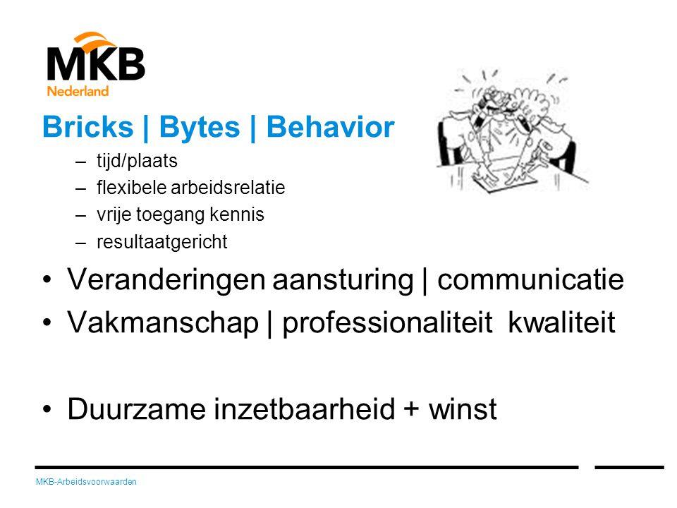 MKB-Arbeidsvoorwaarden Bricks | Bytes | Behavior –tijd/plaats –flexibele arbeidsrelatie –vrije toegang kennis –resultaatgericht •Veranderingen aansturing | communicatie •Vakmanschap | professionaliteit kwaliteit •Duurzame inzetbaarheid + winst