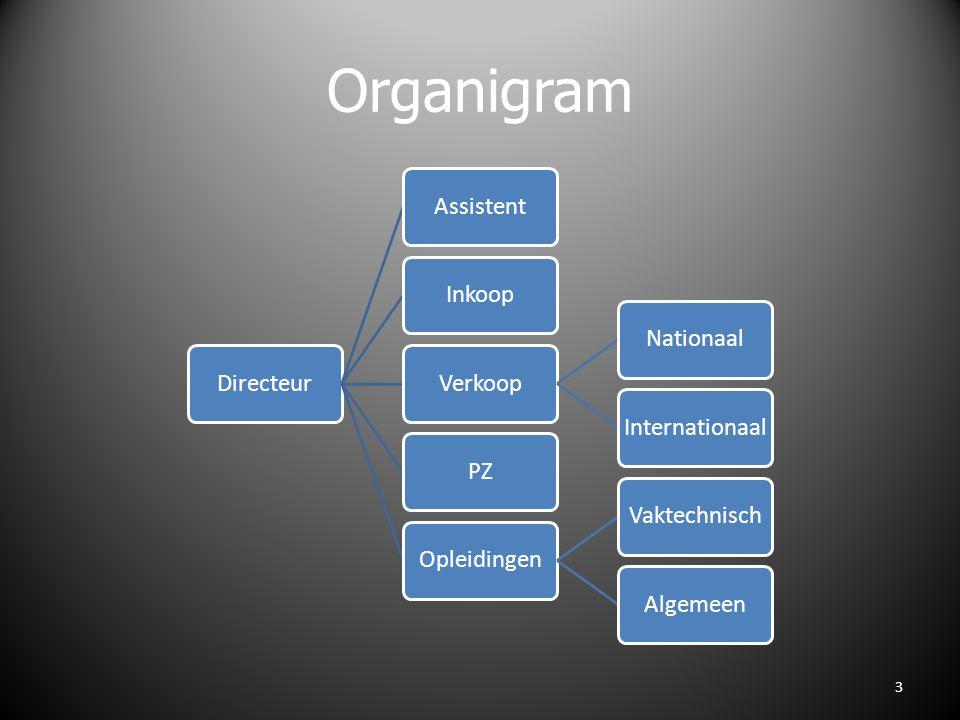 Organigram DirecteurAssistentInkoopVerkoopNationaalInternationaalPZOpleidingenVaktechnischAlgemeen 3