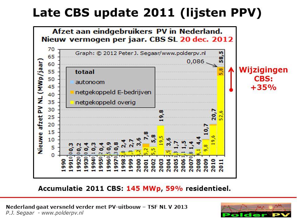 Nederland gaat versneld verder met PV-uitbouw – TSF NL V 2013 P.J. Segaar - www.polderpv.nl Late CBS update 2011 (lijsten PPV) Wijzigingen CBS: +35% A