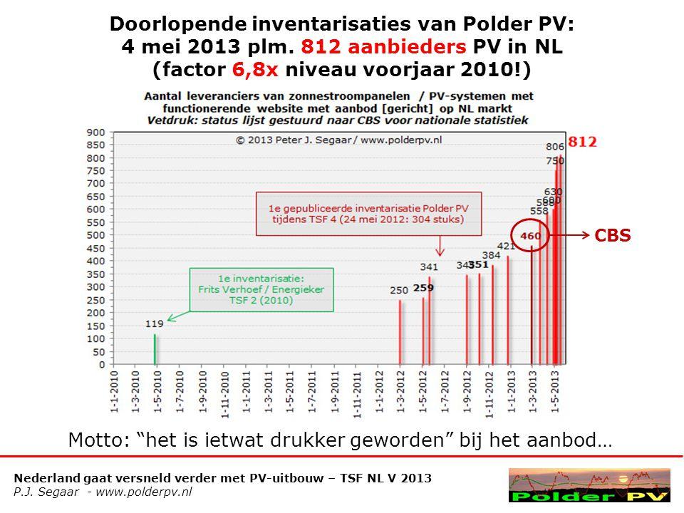 Nederland gaat versneld verder met PV-uitbouw – TSF NL V 2013 P.J. Segaar - www.polderpv.nl Doorlopende inventarisaties van Polder PV: 4 mei 2013 plm.
