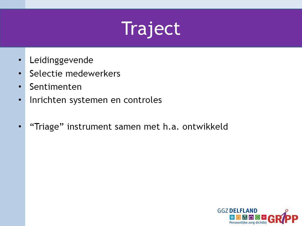 """Traject • Leidinggevende • Selectie medewerkers • Sentimenten • Inrichten systemen en controles • """"Triage"""" instrument samen met h.a. ontwikkeld"""