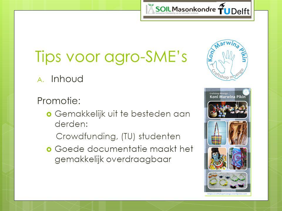 Tips voor agro-SME's A. Inhoud Promotie:  Gemakkelijk uit te besteden aan derden: Crowdfunding, (TU) studenten  Goede documentatie maakt het gemakke