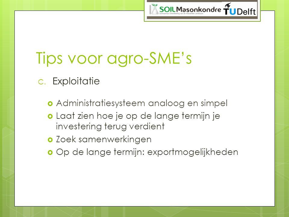 Tips voor agro-SME's C. Exploitatie  Administratiesysteem analoog en simpel  Laat zien hoe je op de lange termijn je investering terug verdient  Zo