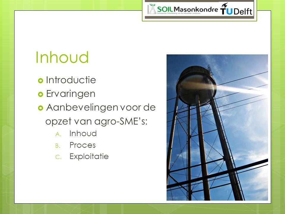 Inhoud  Introductie  Ervaringen  Aanbevelingen voor de opzet van agro-SME's: A. Inhoud B. Proces C. Exploitatie