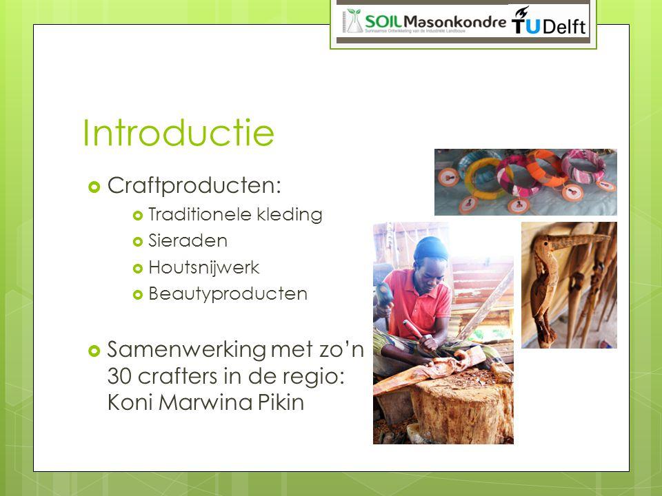 Introductie  Craftproducten:  Traditionele kleding  Sieraden  Houtsnijwerk  Beautyproducten  Samenwerking met zo'n 30 crafters in de regio: Koni