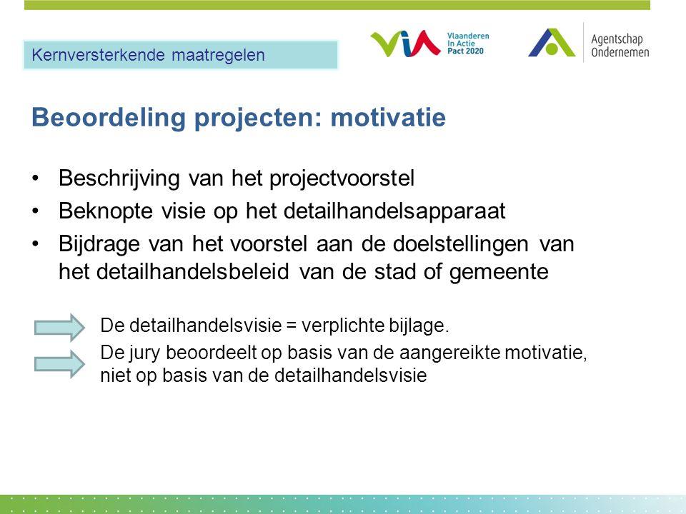 Beoordeling projecten: motivatie •Beschrijving van het projectvoorstel •Beknopte visie op het detailhandelsapparaat •Bijdrage van het voorstel aan de