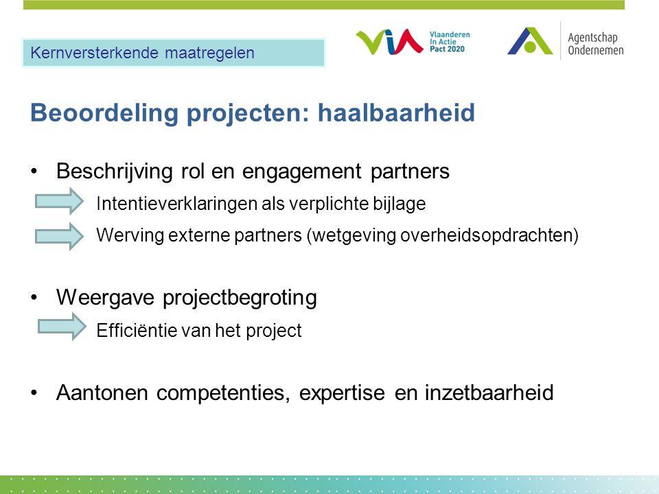 Beoordeling projecten: haalbaarheid •Beschrijving rol en engagement partners Intentieverklaringen als verplichte bijlage Werving externe partners (wet