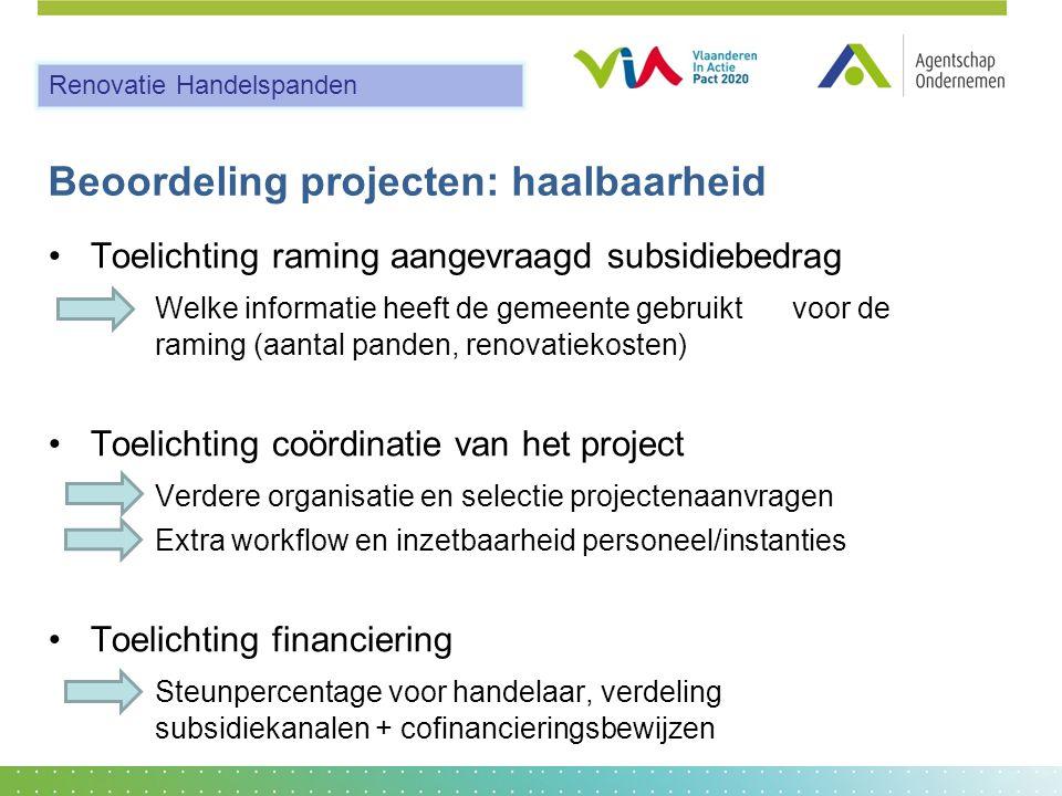 Beoordeling projecten: haalbaarheid •Toelichting raming aangevraagd subsidiebedrag Welke informatie heeft de gemeente gebruikt voor de raming (aantal