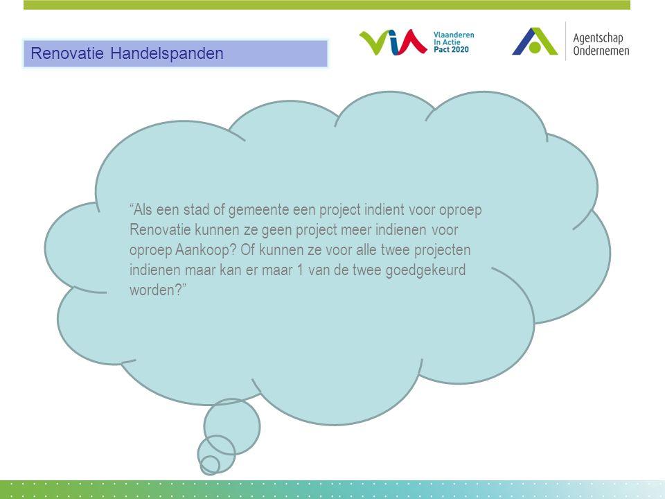 Als een stad of gemeente een project indient voor oproep Renovatie kunnen ze geen project meer indienen voor oproep Aankoop.