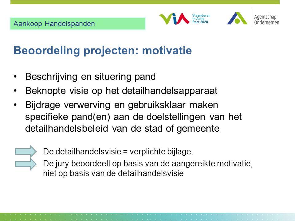 Beoordeling projecten: motivatie •Beschrijving en situering pand •Beknopte visie op het detailhandelsapparaat •Bijdrage verwerving en gebruiksklaar ma
