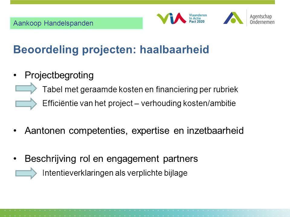 Beoordeling projecten: haalbaarheid •Projectbegroting Tabel met geraamde kosten en financiering per rubriek Efficiëntie van het project – verhouding k