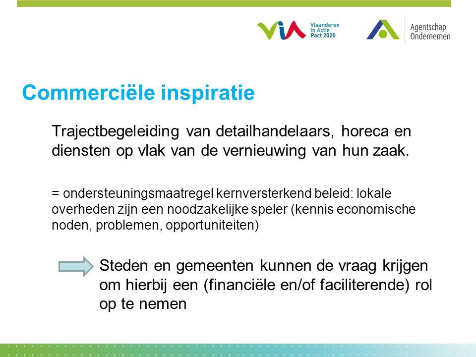 Commerciële inspiratie Trajectbegeleiding van detailhandelaars, horeca en diensten op vlak van de vernieuwing van hun zaak. = ondersteuningsmaatregel