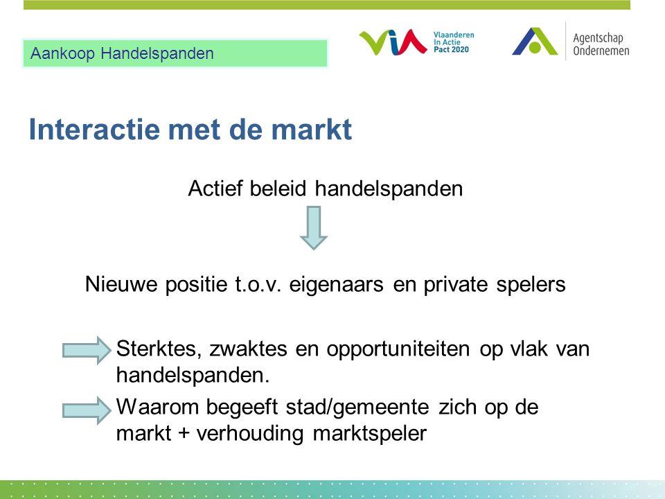 Interactie met de markt Actief beleid handelspanden Nieuwe positie t.o.v. eigenaars en private spelers Sterktes, zwaktes en opportuniteiten op vlak va