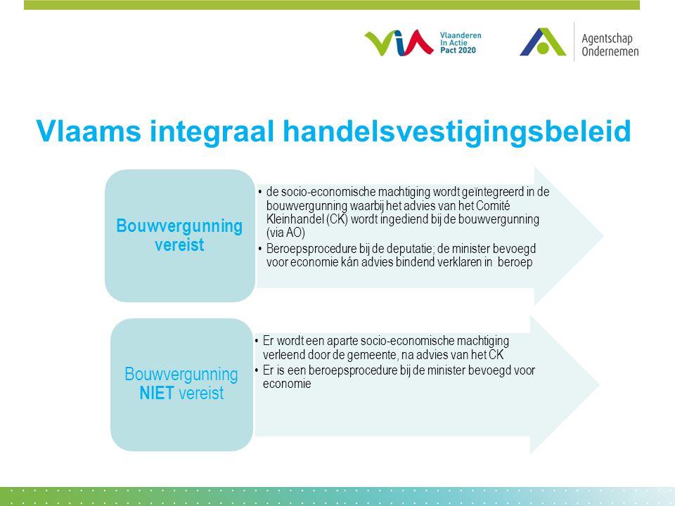 Vlaams integraal handelsvestigingsbeleid •de socio-economische machtiging wordt geïntegreerd in de bouwvergunning waarbij het advies van het Comité Kl