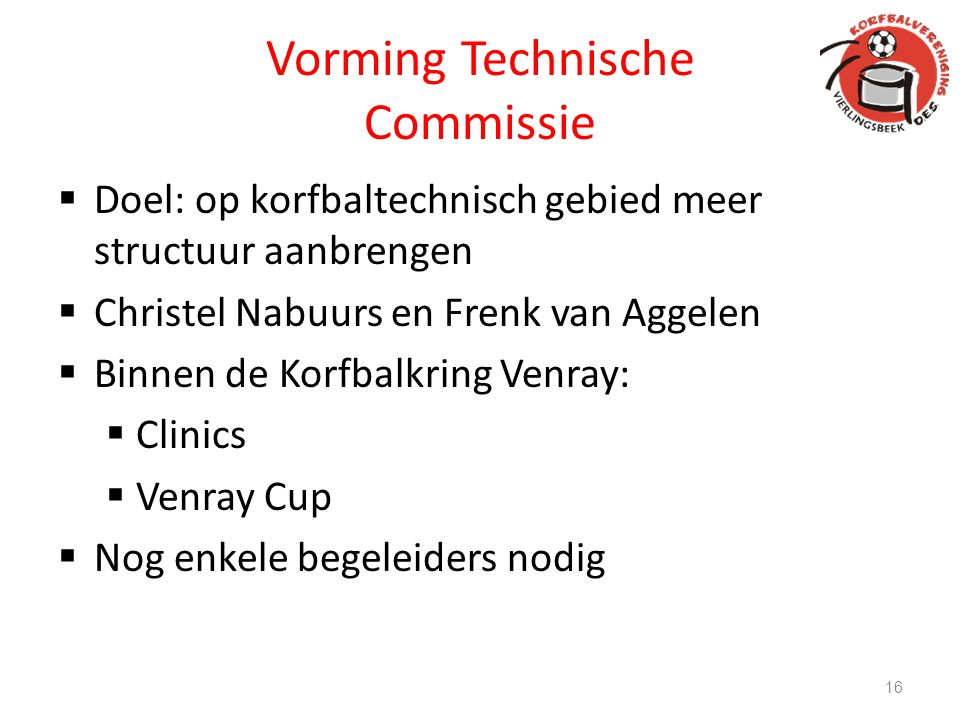 Vorming Technische Commissie  Doel: op korfbaltechnisch gebied meer structuur aanbrengen  Christel Nabuurs en Frenk van Aggelen  Binnen de Korfbalk