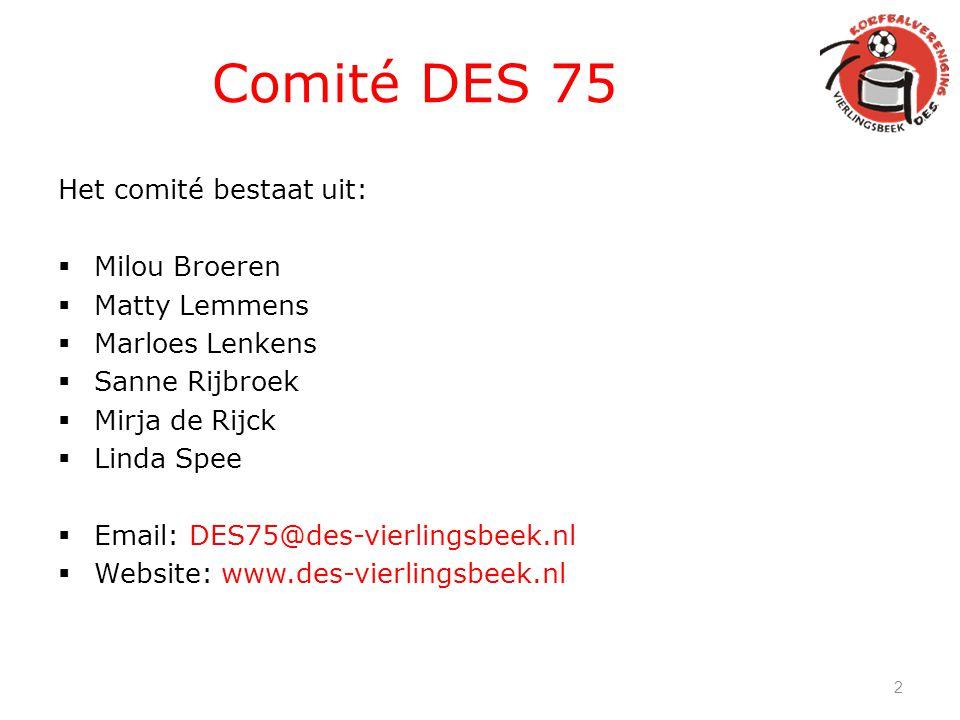 Comité DES 75 Het comité bestaat uit:  Milou Broeren  Matty Lemmens  Marloes Lenkens  Sanne Rijbroek  Mirja de Rijck  Linda Spee  Email: DES75@