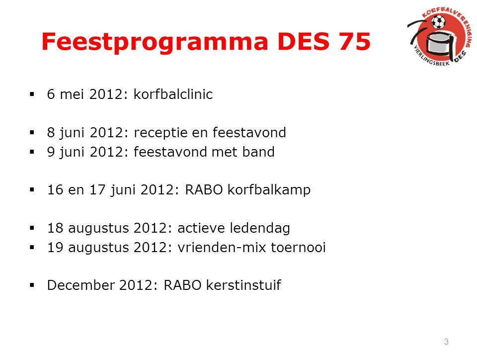 Feestprogramma DES 75  6 mei 2012: korfbalclinic  8 juni 2012: receptie en feestavond  9 juni 2012: feestavond met band  16 en 17 juni 2012: RABO