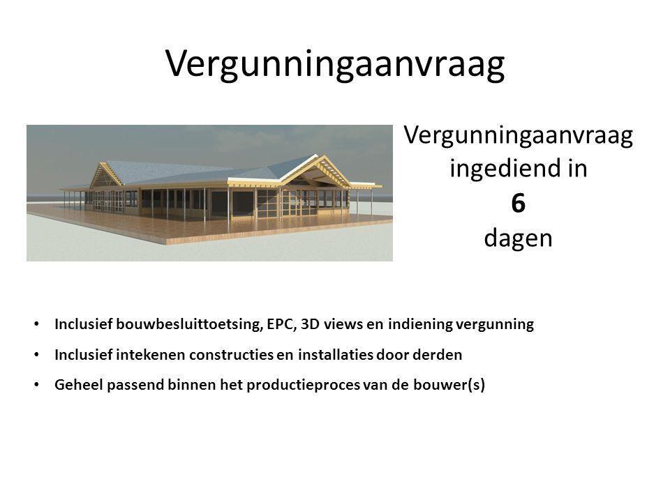 Vergunningaanvraag Vergunningaanvraag ingediend in 6 dagen • Inclusief bouwbesluittoetsing, EPC, 3D views en indiening vergunning • Inclusief intekene