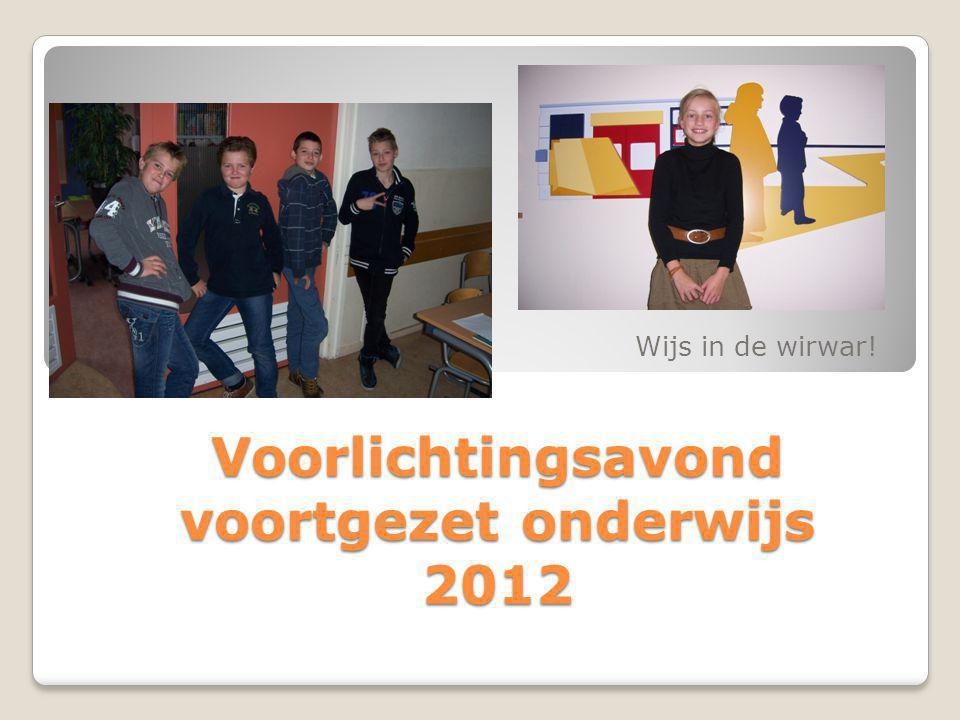 Voorlichtingsavond voortgezet onderwijs 2012 Wijs in de wirwar!