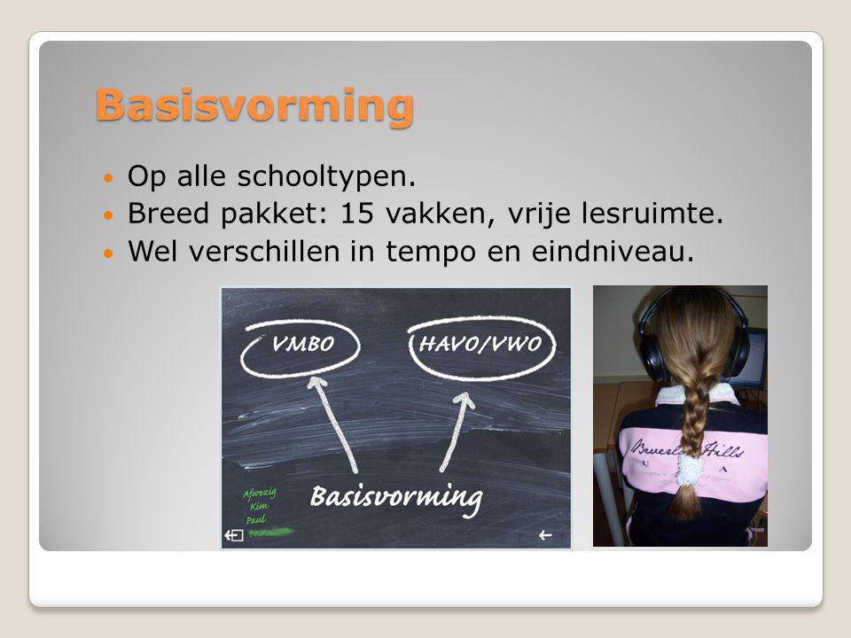 Basisvorming  Op alle schooltypen. Breed pakket: 15 vakken, vrije lesruimte.