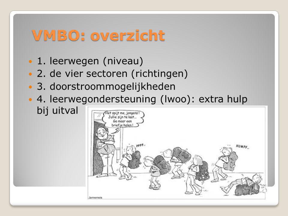 VMBO: overzicht  1.leerwegen (niveau)  2. de vier sectoren (richtingen)  3.