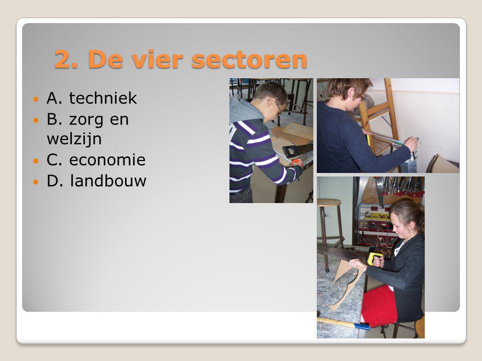 2. De vier sectoren  A. techniek  B. zorg en welzijn  C. economie  D. landbouw