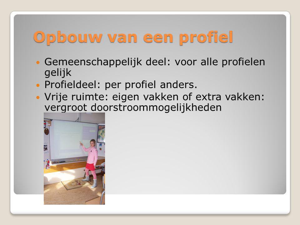 Opbouw van een profiel  Gemeenschappelijk deel: voor alle profielen gelijk  Profieldeel: per profiel anders.