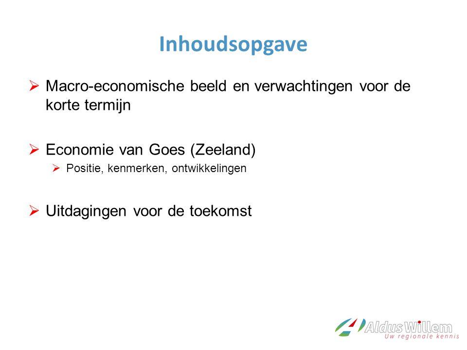 Inhoudsopgave  Macro-economische beeld en verwachtingen voor de korte termijn  Economie van Goes (Zeeland)  Positie, kenmerken, ontwikkelingen  Uitdagingen voor de toekomst