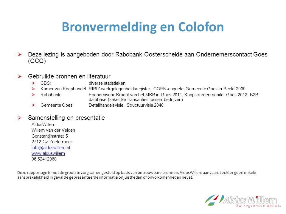 Bronvermelding en Colofon  Deze lezing is aangeboden door Rabobank Oosterschelde aan Ondernemerscontact Goes (OCG)  Gebruikte bronnen en literatuur
