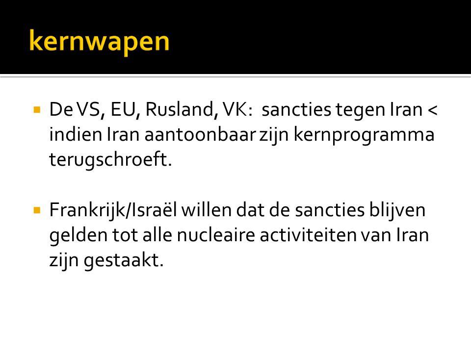  De VS, EU, Rusland, VK: sancties tegen Iran < indien Iran aantoonbaar zijn kernprogramma terugschroeft.