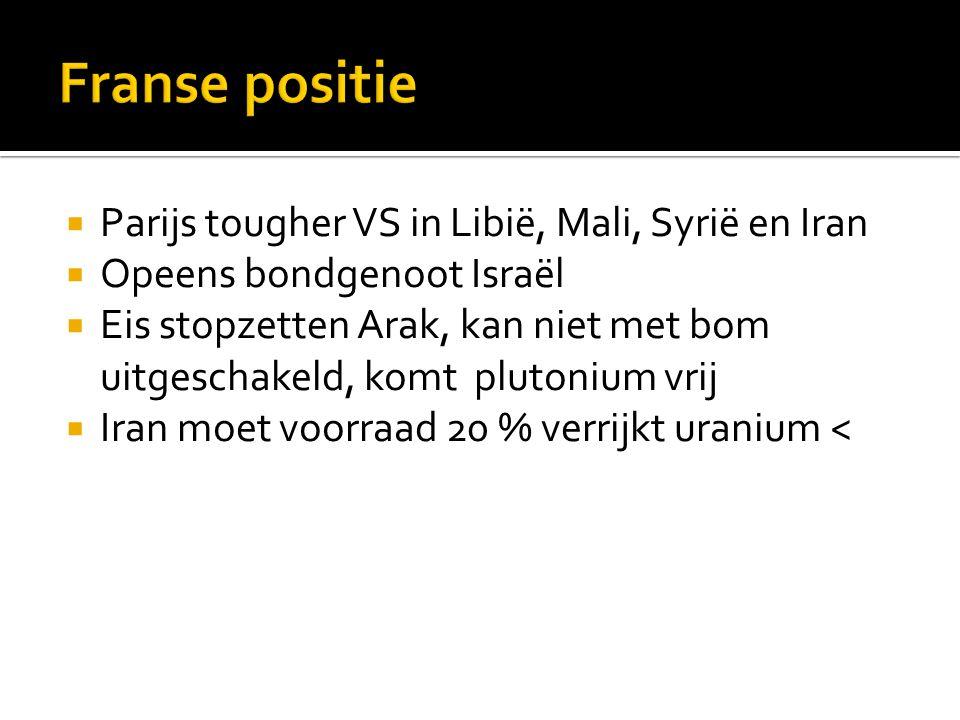  Parijs tougher VS in Libië, Mali, Syrië en Iran  Opeens bondgenoot Israël  Eis stopzetten Arak, kan niet met bom uitgeschakeld, komt plutonium vrij  Iran moet voorraad 20 % verrijkt uranium <