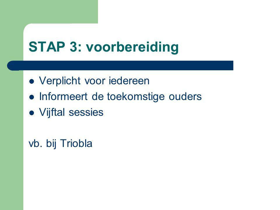 STAP 3: voorbereiding  Verplicht voor iedereen  Informeert de toekomstige ouders  Vijftal sessies vb. bij Triobla