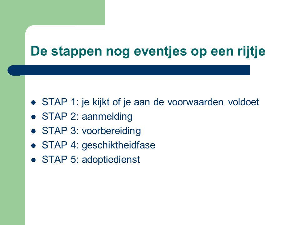 De stappen nog eventjes op een rijtje  STAP 1: je kijkt of je aan de voorwaarden voldoet  STAP 2: aanmelding  STAP 3: voorbereiding  STAP 4: gesch