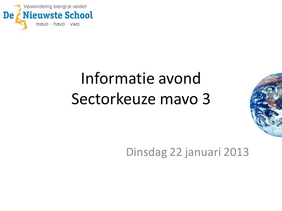 Informatie avond Sectorkeuze mavo 3 Dinsdag 22 januari 2013