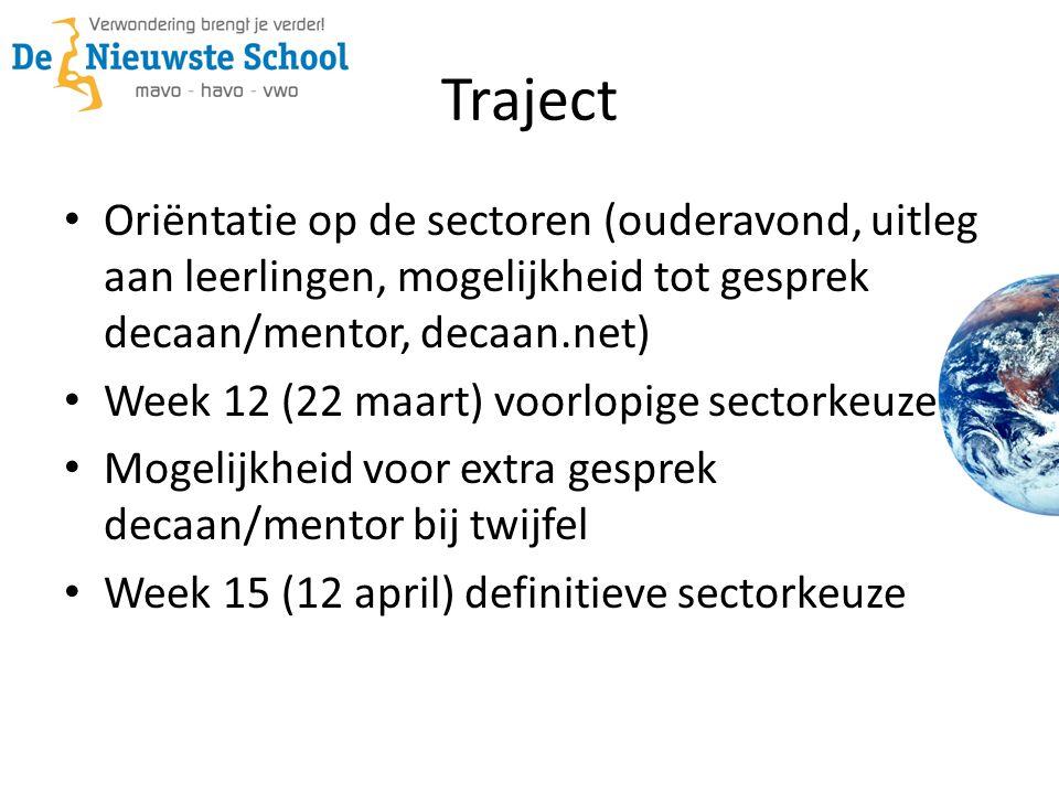 Traject • Oriëntatie op de sectoren (ouderavond, uitleg aan leerlingen, mogelijkheid tot gesprek decaan/mentor, decaan.net) • Week 12 (22 maart) voorl